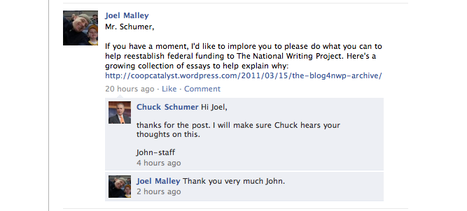 Joel Malley posts #blog4nwp on Senator Schumer's wall.