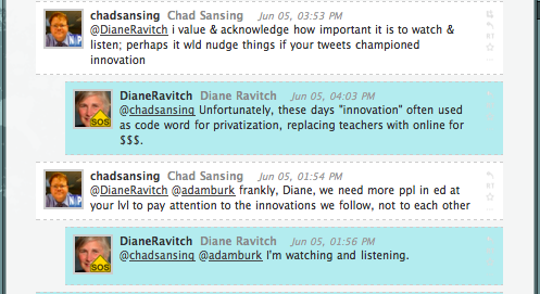 More from a conversation with Diane Ravitch et al.
