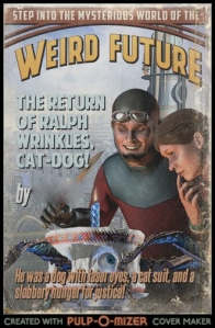 A student-generated Pulp-O-Mizer cover for a super-hero fan-fic